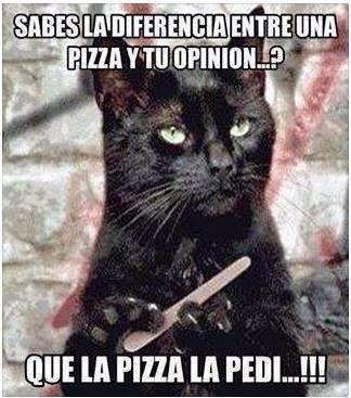 Sabes cual es la diferencia entre una pizza y tu opinión?